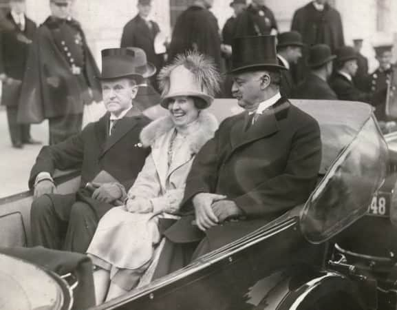 President Coolidge, Mrs. Coolidge and Senator Curtis on the way to the Capitol, March 4, 1925.