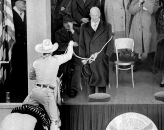 President Dwight D. Eisenhower inauguration, 1953 in double breasted overcoat