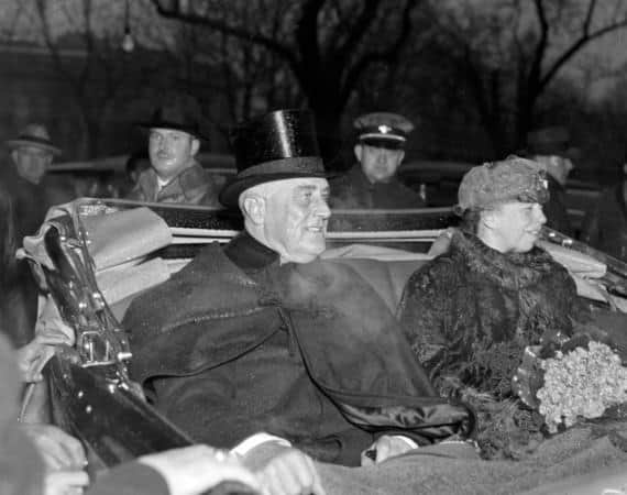 President Franklin D. Roosevelt inauguration, 1937 with shiny top hat and evening overcoat with cape and frog closure