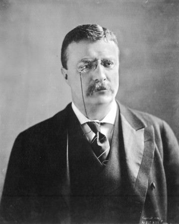 Theodore Roosevelt in frock coat with striped necktie and turndown collar at Oath of Office, September 14, 1901