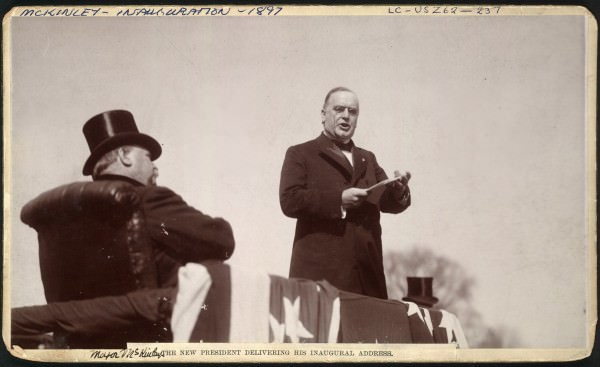 William McKinley in frock coat & black bow tie at his first inauguration, March 4, 1897