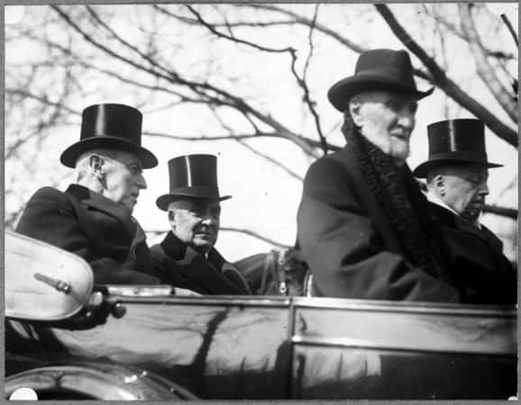 Woodrow Wilson, Warren G. Harding, Philander Knox and Joseph Cannon, in convertible, March 4, 1921