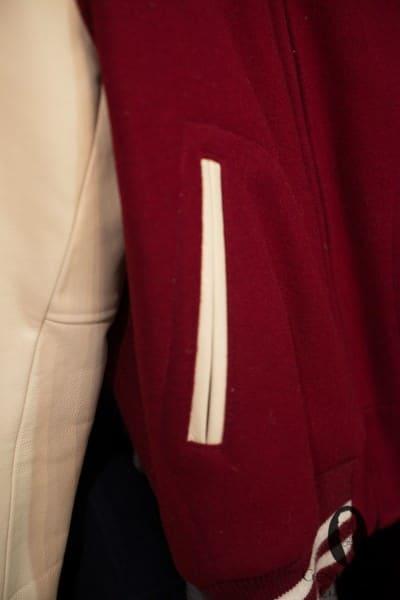 Contrast details in varisty jacket