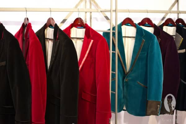 Colorful velvet jackets with contrast edges