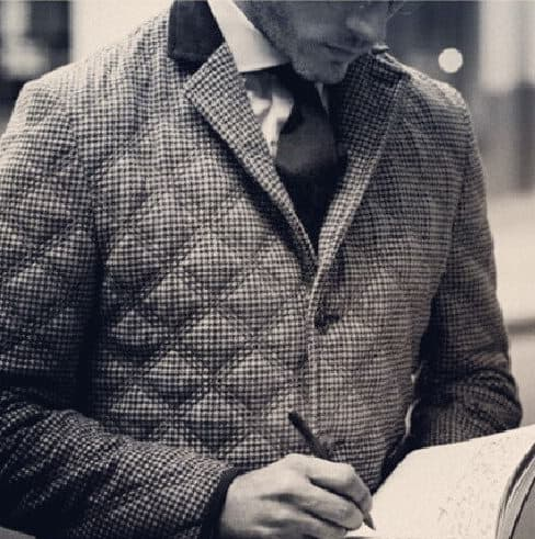 Double quilted jacket in wool