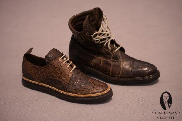 Fennix Italy matte croc & ostrich sneaker & boots