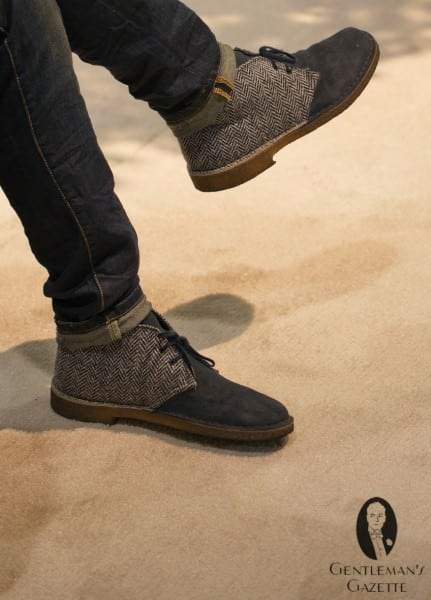 Navy suede shoes with blue-grey herringbone cloth inserts