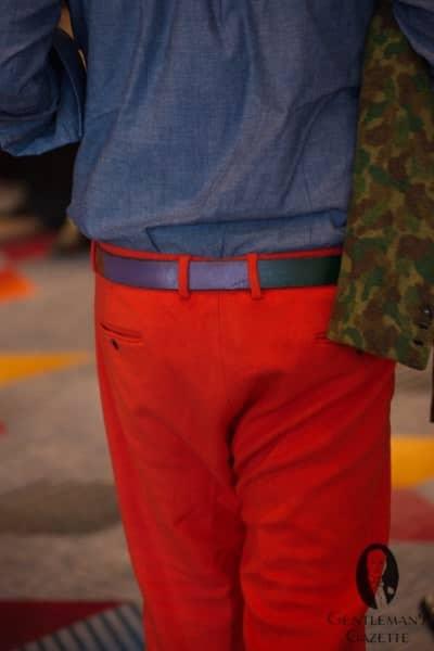 Orange pants, multicolor belt & camouflage
