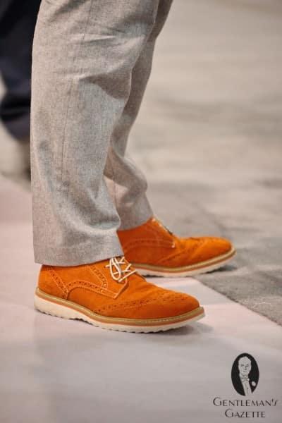 Orange suede with white vibram sole