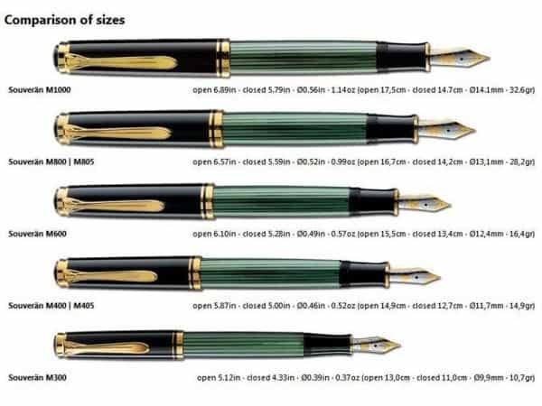 Pelikan M Series sizes