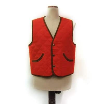 Quilted canetino vest in orange
