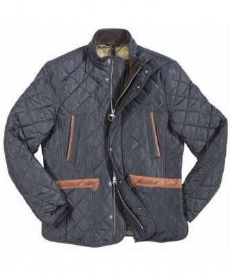 Quilted jacket with brown leather trims