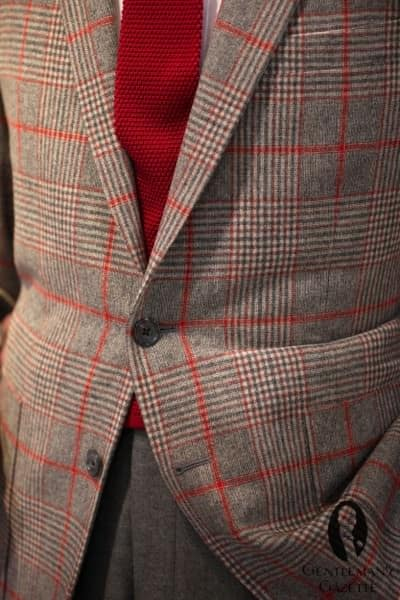 Red overcheck on plaid with silk knit tie