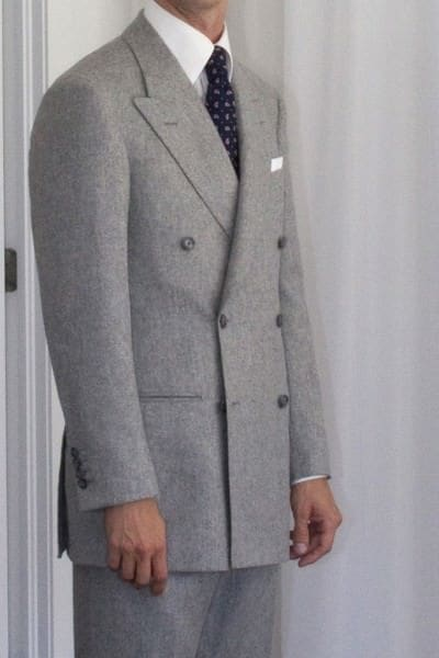 Superb mid grey double breasted suit