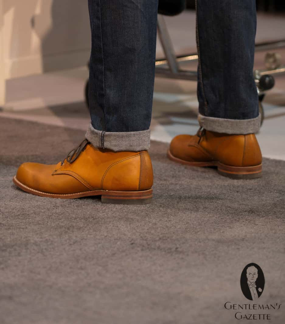 Wolverine 1000 Mile boot in cognac with blue denim