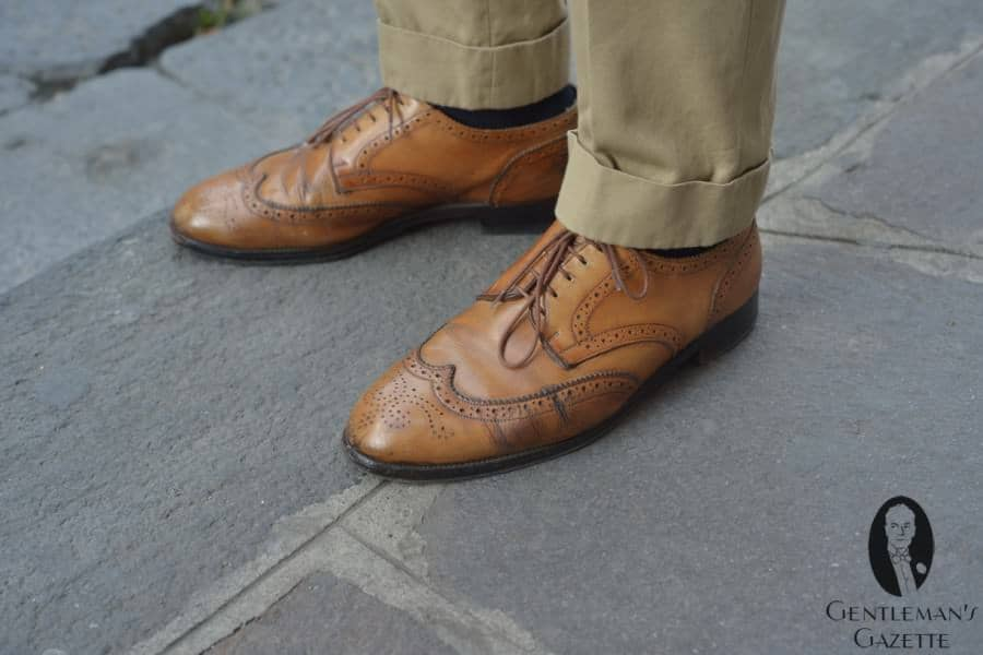 Cognac Brown Derby Full Brogue with 2 inch cuff