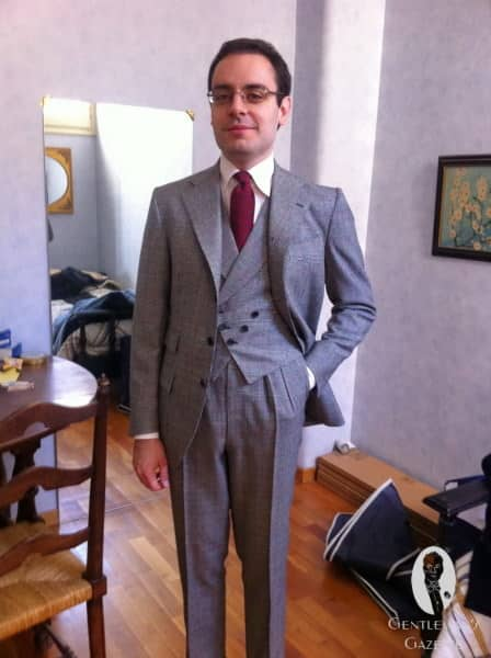 Gabriele in a 3 piece suit with a rare double breasted vest