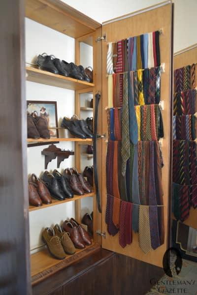 Shoe & tie storage in old book shelf