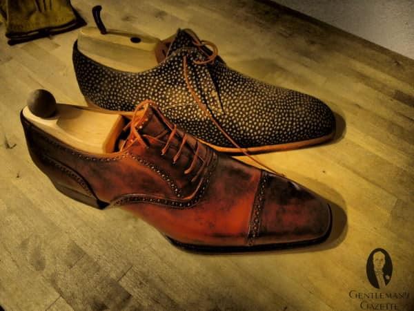 Carpincho shoes & antique patina oxford