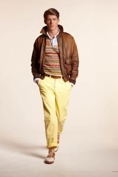 Fair Isle vest, saddle shoes & leather jacket