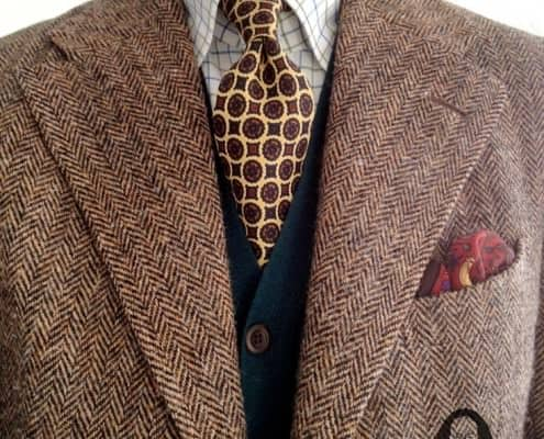 Herringbone tweed with cardigan