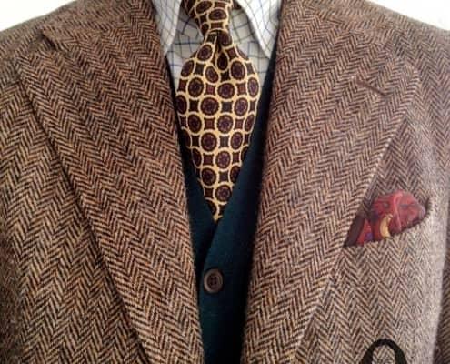 Herringbone tweed with cardigan