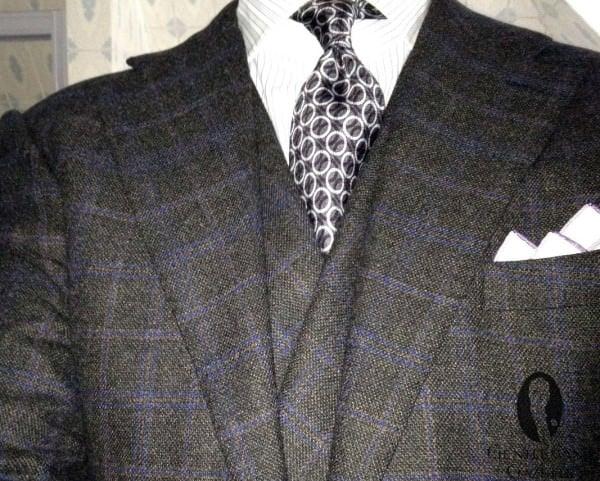 Purple Windowpane on dark grey suit with DB vest