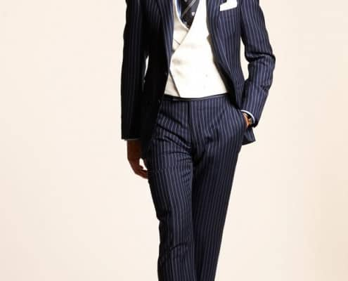 Ralph Lauren Rope Striped suit with DB vest in white