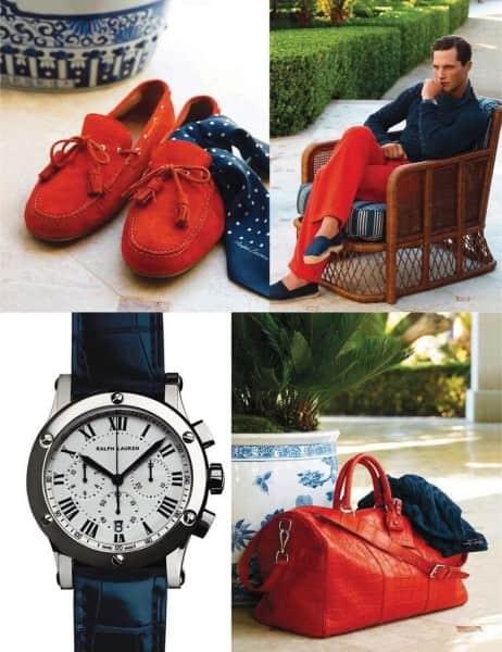 Red Driver Moc, pants, & Duffle bag by Ralph Lauren