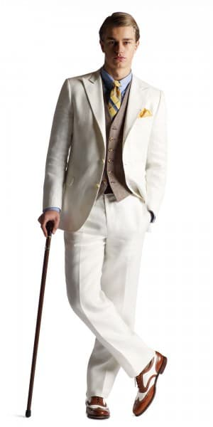 Gatsby Collection White herringbone single breasted suit with peaked lapel