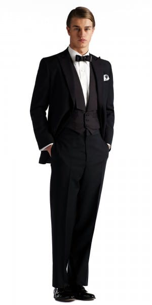 Gatsby Collection tuxedo with peaked lapels, flap pockets and patterned SB vest