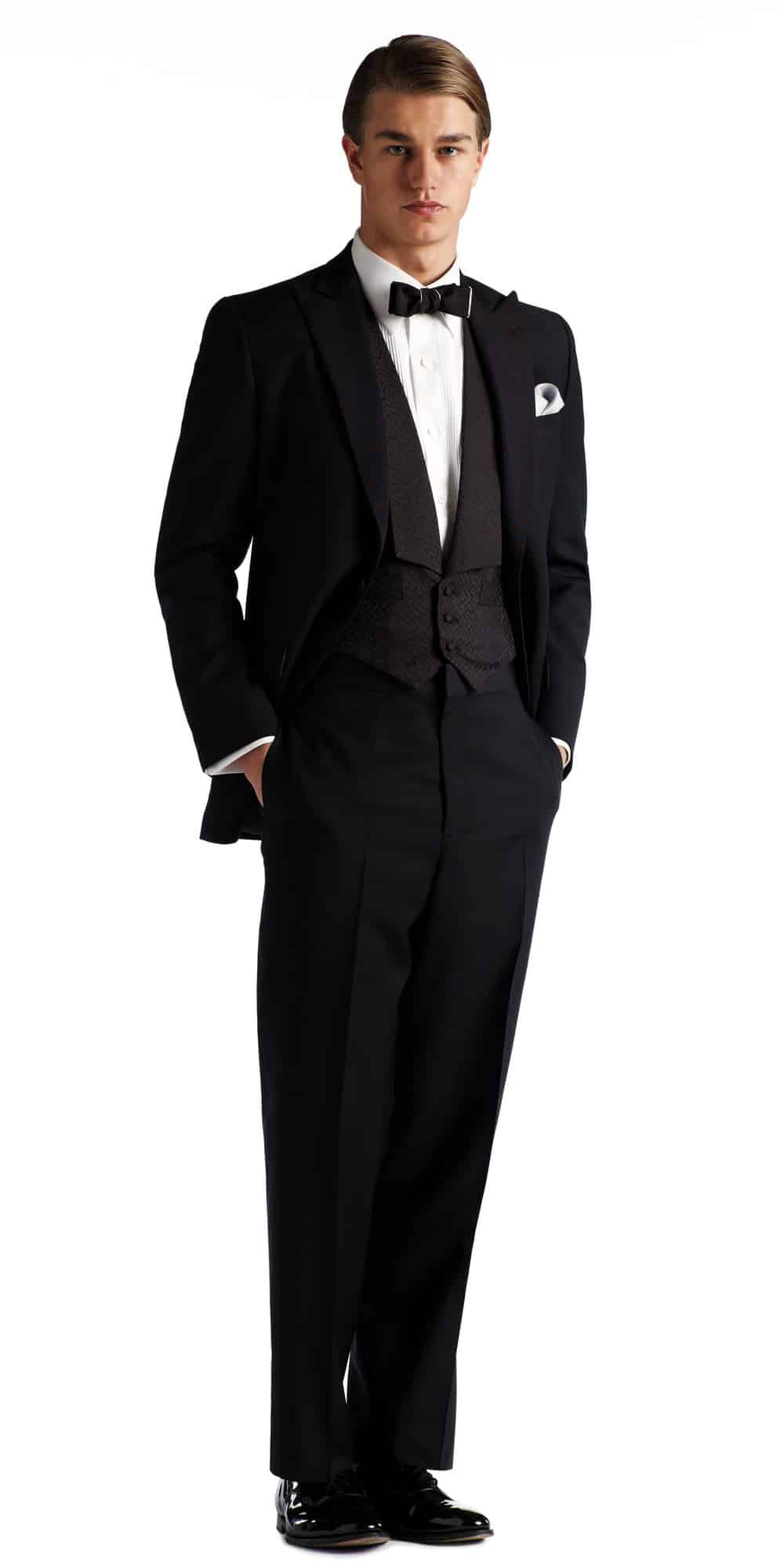 Gatsby Collection Tuxedo With Peaked Lapels Flap Pockets And Patterned SB Vest