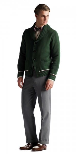 Green Shawl collar cardigan with leather buttons Brooks Brothers Gatsby Collection