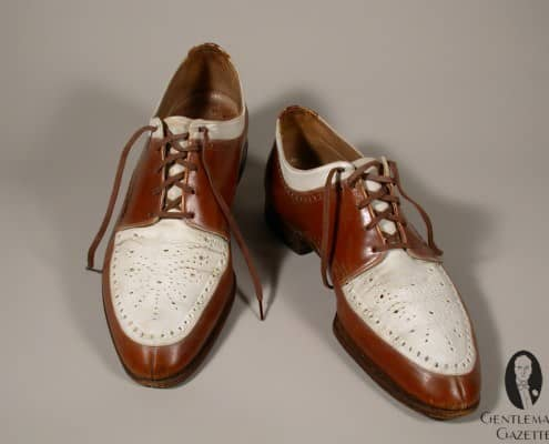 Interesting Norwegian style split toe derby spectator shoes by Truman
