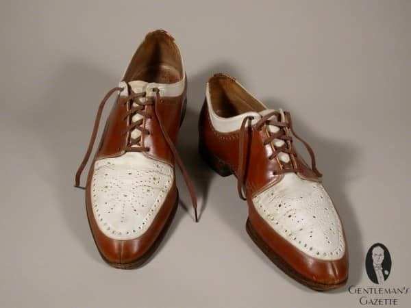Interesting Norwegian style split toe derby spectator shoes by Ike Kempner Shoes for  Truman