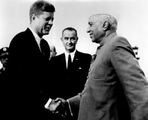 JFK & Nehru in sherwani with rose boutonniere