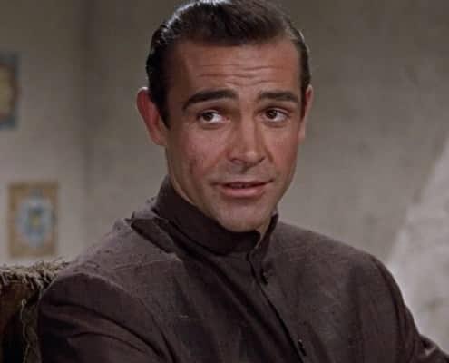 James Bond in brown sahntung silk Nehru jacket