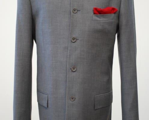 Nehru Jacket in grey with pocket square