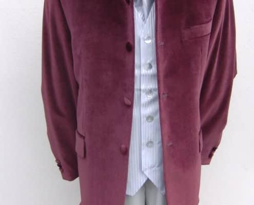 Nehru jacket in burgundy velvet