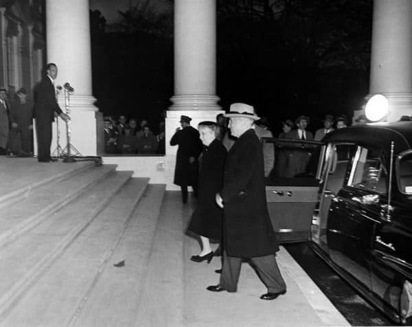Truman in dark shoes on March 27, 1952, upon the return of the Truman family to the White House after renovations