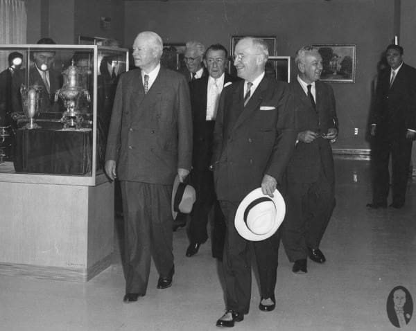Truman in the same two tone shoes on July 6, 1957 - the day the Truman Library opened together with Hoover