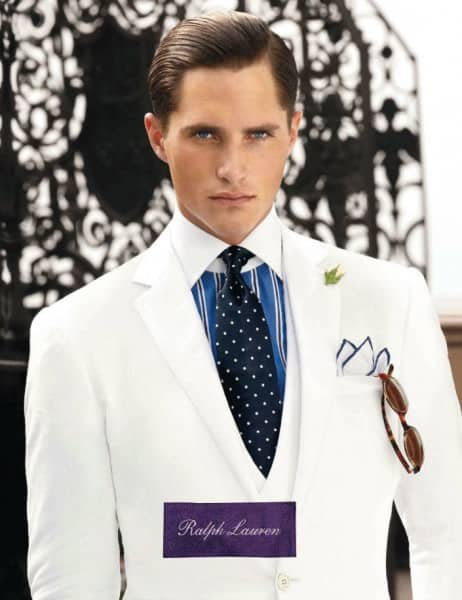 White Summer Suit with Boutonniere - the better Gatsby suit