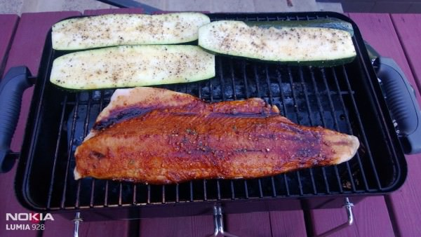 Lake trout on the grill