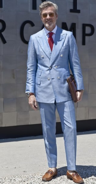 Light blue summer suit - double breasted with minimal button stance