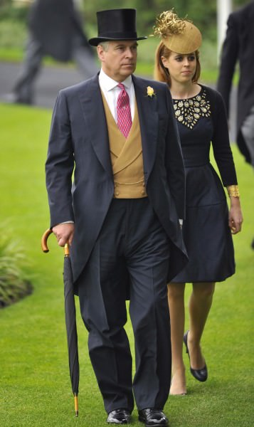 Prince Andrew in buff 6x3 morning vest & patent leather oxford shoes