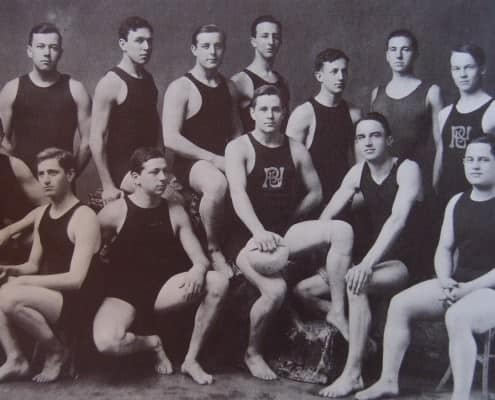 Princeton swim team in tank suits in 1907