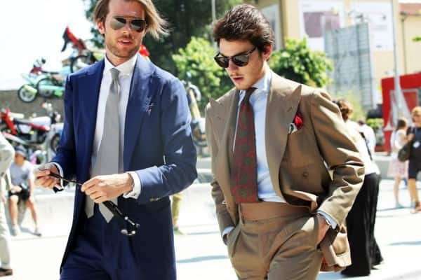 Solaro suit, with waistband, extreme peaked lapels & madder tie