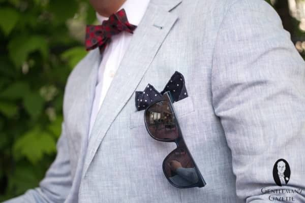 Sunglasses in pocket with pocket square