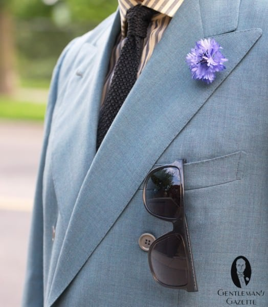 Sunglasses without pocket square in chest pocket