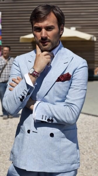 The light blue summer suit - double breasted, with patch pockets & heavy pick stitching